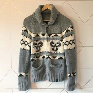 Aritzia TNA Lambswool Zip Cardigan Sweater